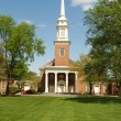 Stock Photo: Big red brick church in country