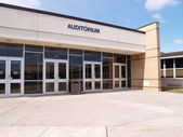 School auditorium doors — Stock Photo