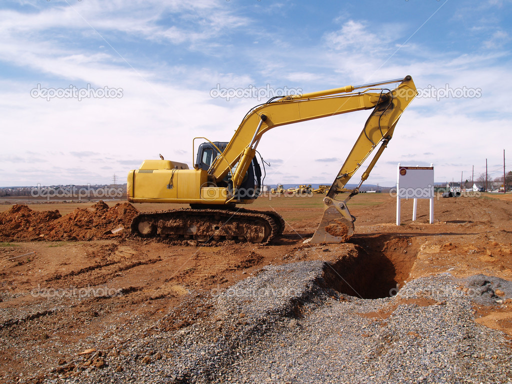 Heavy duty construction equipment by work site     — Stock Photo #2469149