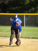 Little league baseball infielder — Stockfoto