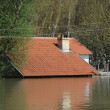 Flood, river, disaster, hurricane, roof, - Stock Photo