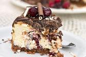 Cranberry Chocolate Cheesecake — Stock Photo