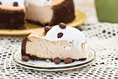 Cheesecake with Chocolate Coffee Beans — Stock Photo
