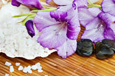 Flowers and Bath Salts — Stock Photo