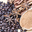 Anise stars, cinnamon and coffee beans — Stock Photo