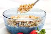 Spoonful of granola — Stock Photo