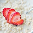 Hot Oatmeal with Strawberries — Stock Photo