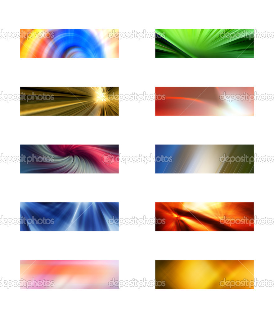 Ten abstract headers, each header is 1024 pixels wide and 300 pixels high, suitable for website designs and website templates. — Stock Photo #2357968