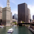 Cruise on Chicago river — Stock Photo