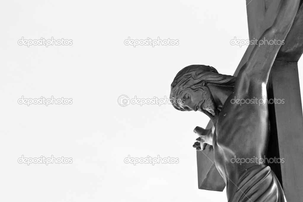 Jesus Christ on the cross in black and white — Stock Photo #2457887
