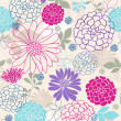 Stock Vector: Flowers Seamless Repeat Pattern