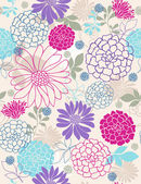 Flowers Seamless Repeat Pattern — Vettoriale Stock