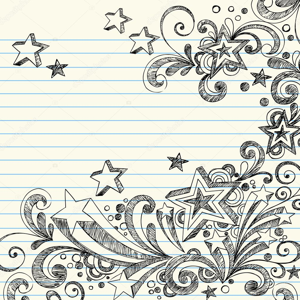 Hand-Drawn Stars Page Edge Border Design- Back to School Style Sketchy Doodles Design Elements on Notebook Paper- Vector Illustration.  Stock Vector #2291845