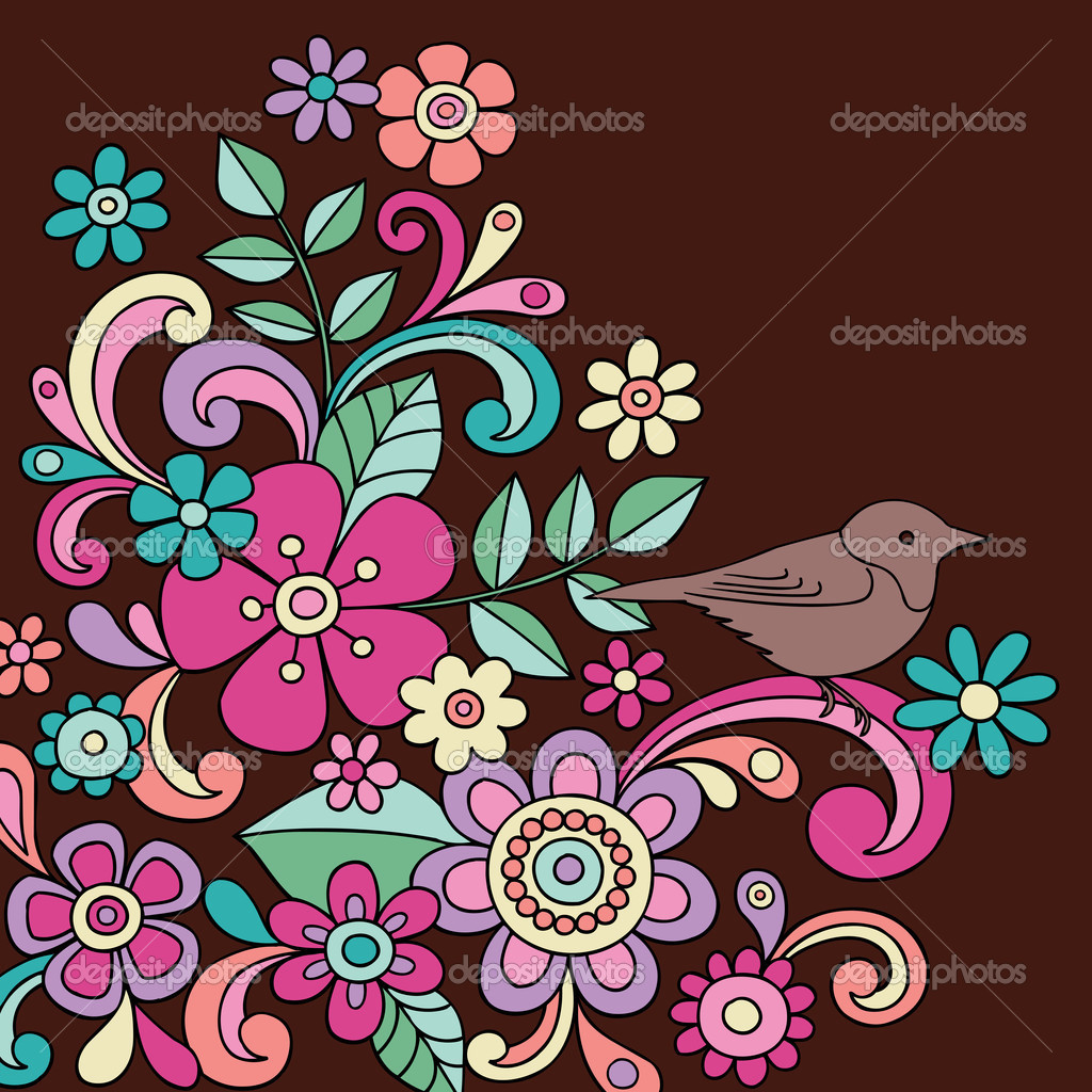 Bird and Flowers Hand Drawn Psychedelic Notebook Doodle with Colorful Psychedelic Flowers Vector Illustration Design Elements — Stock Vector #2291875