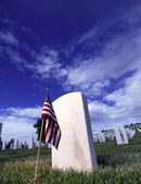 Grave Marker of Soldier with American Flag in a — Stock Photo
