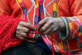 Peruvian Knitter — Stock Photo