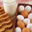 Milk, Eggs, and Bread The Breakfast Staples - Stock Photo