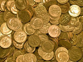 Pile of United States Coins Goldtone Dimes — Stock Photo
