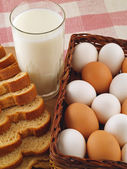 Milk, Eggs, and Bread The Breakfast Staples — Stock Photo