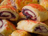 Raspberry Pinwheel Pastries Close Up Full Frame — Stock Photo