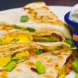 Stock Photo: Breakfast Quesadillwith Sour Cream and Salsa