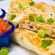 Stock Photo: Chicken Quesadillwith Sour Cream and Salsa