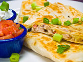 Chicken Quesadilla with Sour Cream and Salsa — Stock Photo