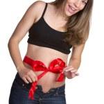Pregnant Woman Bow — Stock Photo