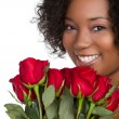 Roses Woman — Stock Photo