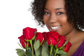 Roses Woman — Stock Photo