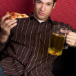 Pizza and Beer Man — Stock Photo