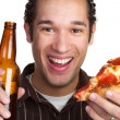 Royalty-Free Stock Photo: Pizza and Beer Man