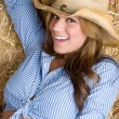 Stock Photo: Laughing Cowgirl