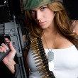 Military Gun Woman - Stock Photo