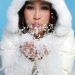 nieve mujer — Foto de Stock