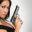 Asian Gun Woman — Stock Photo