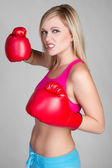 Aggressive Boxing Woman — Stock Photo