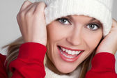 Laughing Winter Woman — Foto Stock