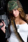 Military Gun Woman — Stock Photo