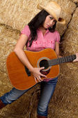 Girl Holding Guitar — Stock Photo