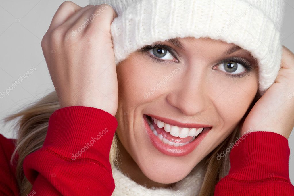 Beautiful laughing winter woman — Foto de Stock   #2401082