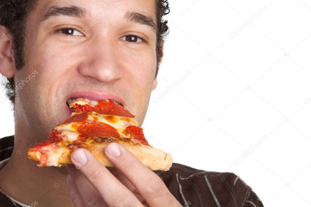 Hungry many eating pizza — Stockfoto #2401111