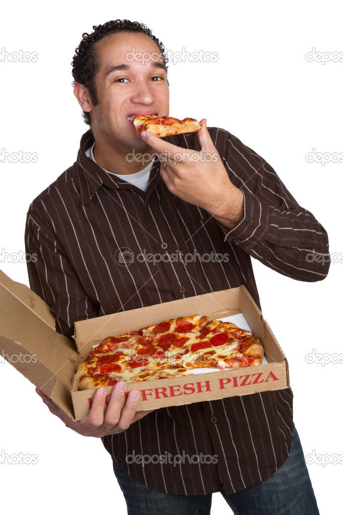Isolated man eating pizza — Stock Photo #2401126