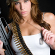 Army Girl With Gun - Stock Photo