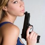 Woman Holding Handgun — Stock Photo