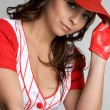 fille de baseball — Photo