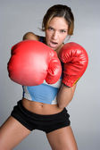 Angry Boxing Woman — Stock Photo