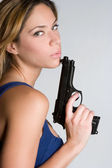 Woman Holding Handgun — Stock Photo