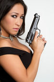 Asian Woman Holding Gun — Stock Photo