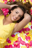 Rose Petals Woman — Stock Photo